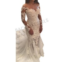 2018 Vintage Lace Mermaid Wedding Dress Turkey Vestido de Novia Pearl Lace Sheer Bridal Gowns Robe mariee Sexy Wedding Dresses