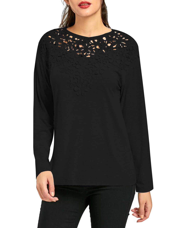 Для женщин блузка Рубашки ZANZEA 2019 Демисезонный Повседневное свободные пикантные туфли из комбинированного материала с кружевом с длинными рукавами, с круглым вырезом футболки размера плюс 2xl