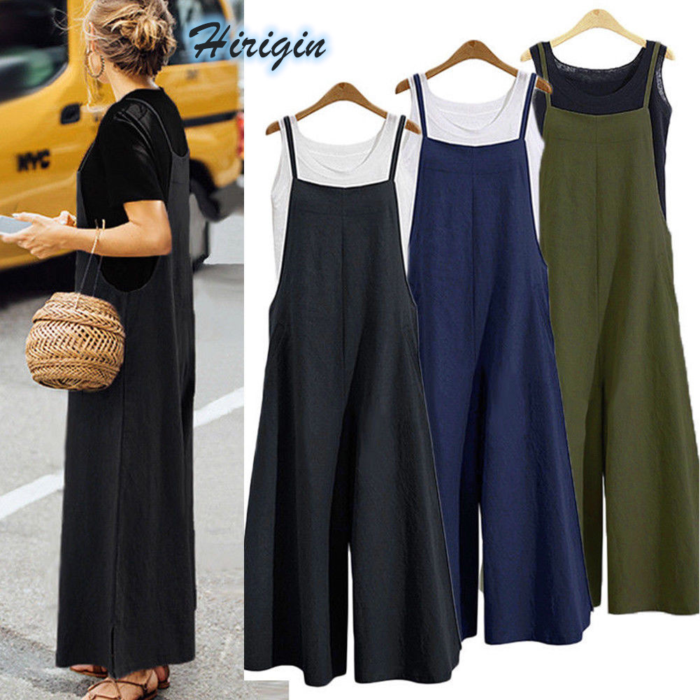 Summer Women Jumpsuits Loose Casual Sleeveless Jumpsuit Solid Simple Strap Overalls Size S-3XL