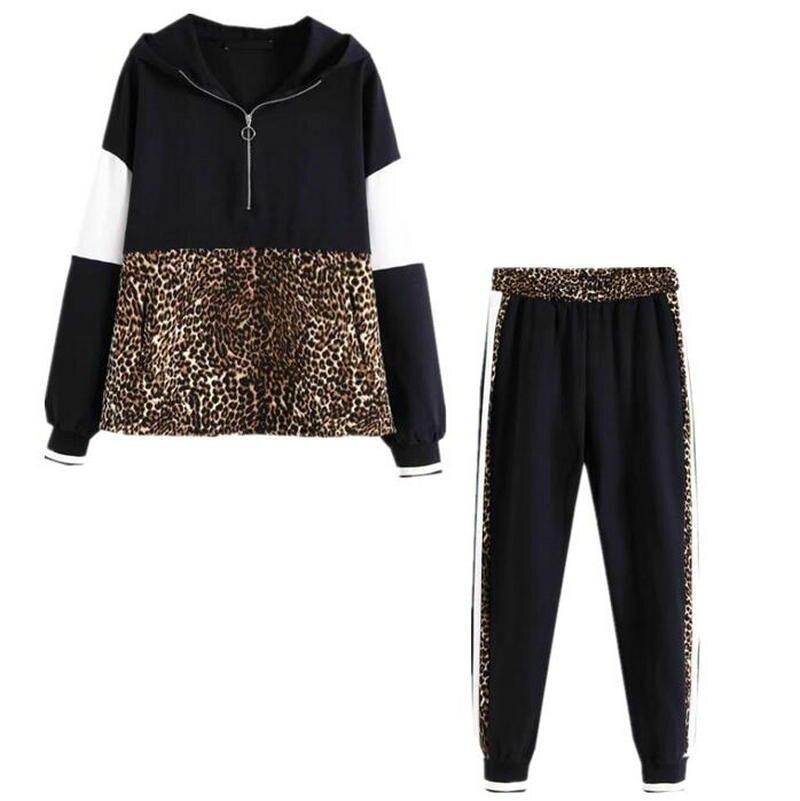 5417ca8797e 2019 осень и зима для женщин leopard лоскутное толстовки повседневные штаны  для бега High Street Спортивный
