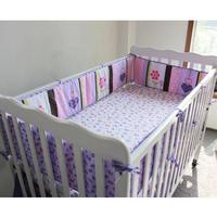 5pcs/set Purple Flower Design Crib Baby Bedding Set Cotton Toddler Baby Bed Linens Include Baby Cot Bumpers Bed Sheet Quilt