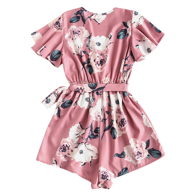 ZAFUL Floral Print Belted Layered Romper Women Jumpsuit Fall Loose Plunging Neck Butterfly Sleeve Mini Playsuits  Overalls 5