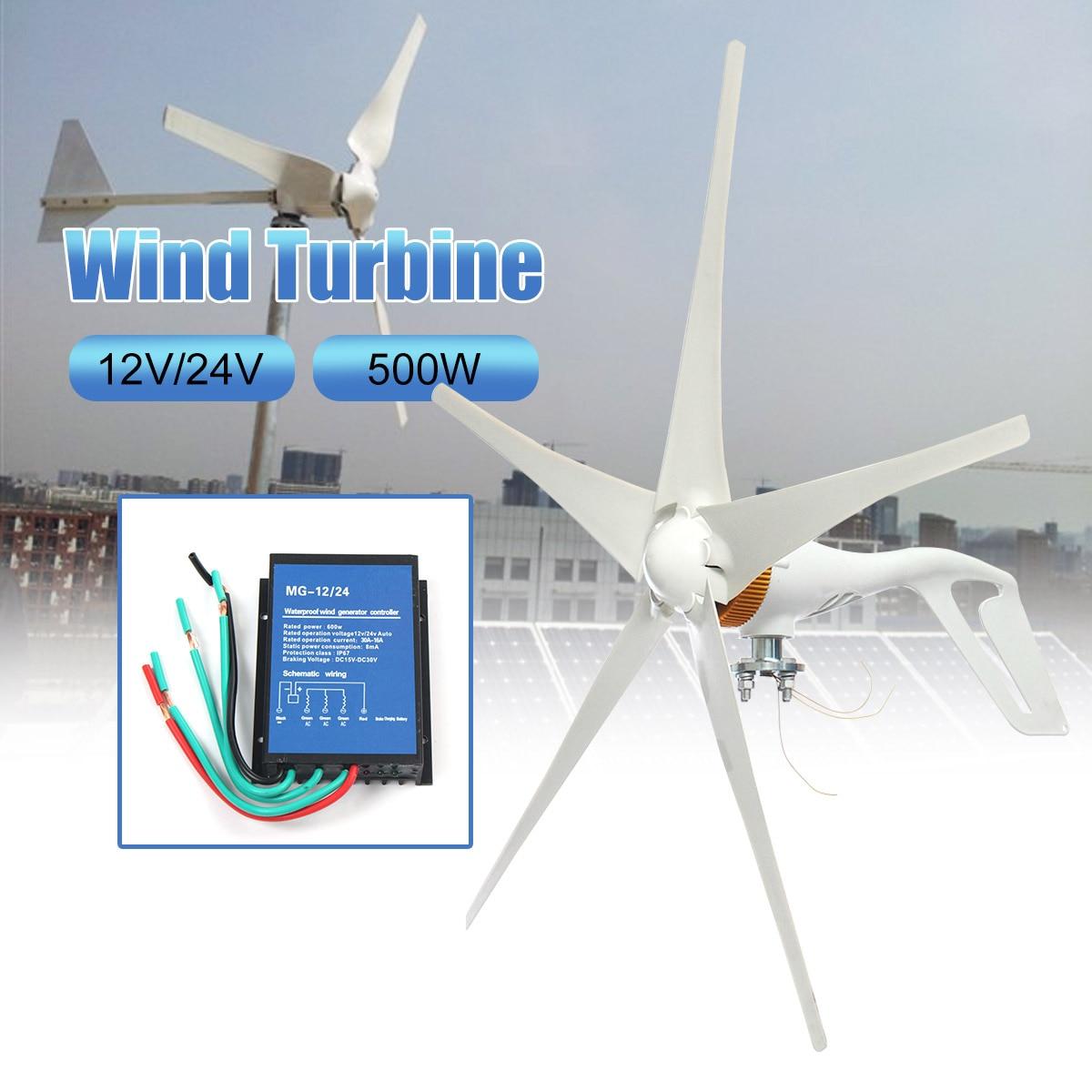12 V/24 V 500 W Éoliennes Générateur Avec L'extérieur Contrôleur 5 Lames AC Miniature Vent Turbines pour maison d'habitation