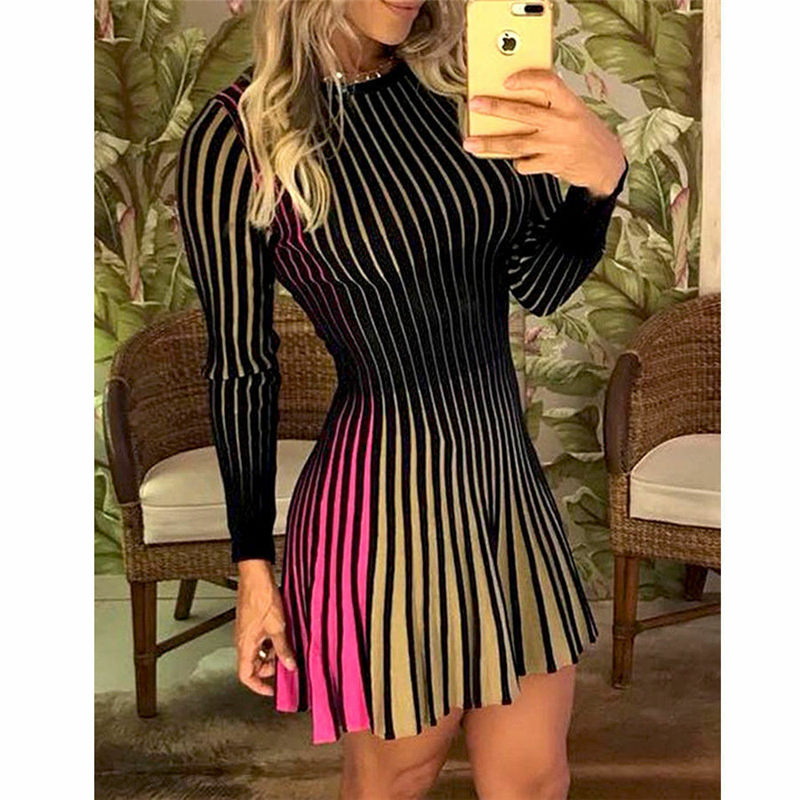 Hirigin High Quality Casual Stripe Long Sleeve Party Club Women Dresses Casual Spring Summer Female Girls Short Dress Dropship