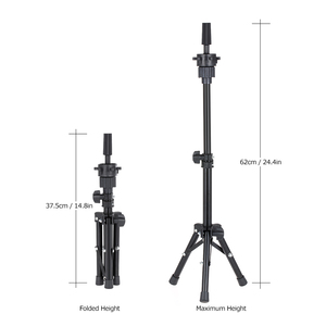 Image 4 - Adjustable Mini Wig Stand Hairdressing Tripod Hairdresser Training Mannequin Head Holder Clamp False Head Mold Stand Hair Wig
