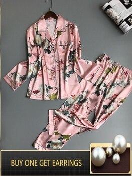 QWEEK Women Pajamas Satin Sleepwear Pijama Home Wear Silk Pyjama Home Suit Flower Print Sweet Cute Home Clothing Sleep Lounge Пижама