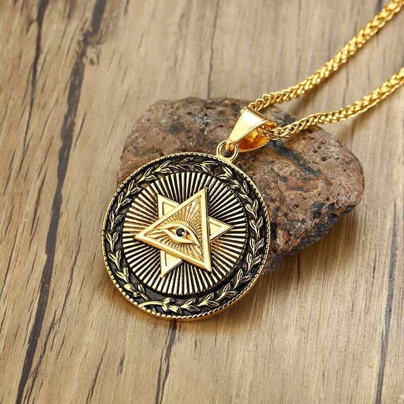 Dropshiping Eye of Providence Star of David Mens Medallion Pendant Necklace in Golden Stainless Steel Men Hip Hop Jewelry