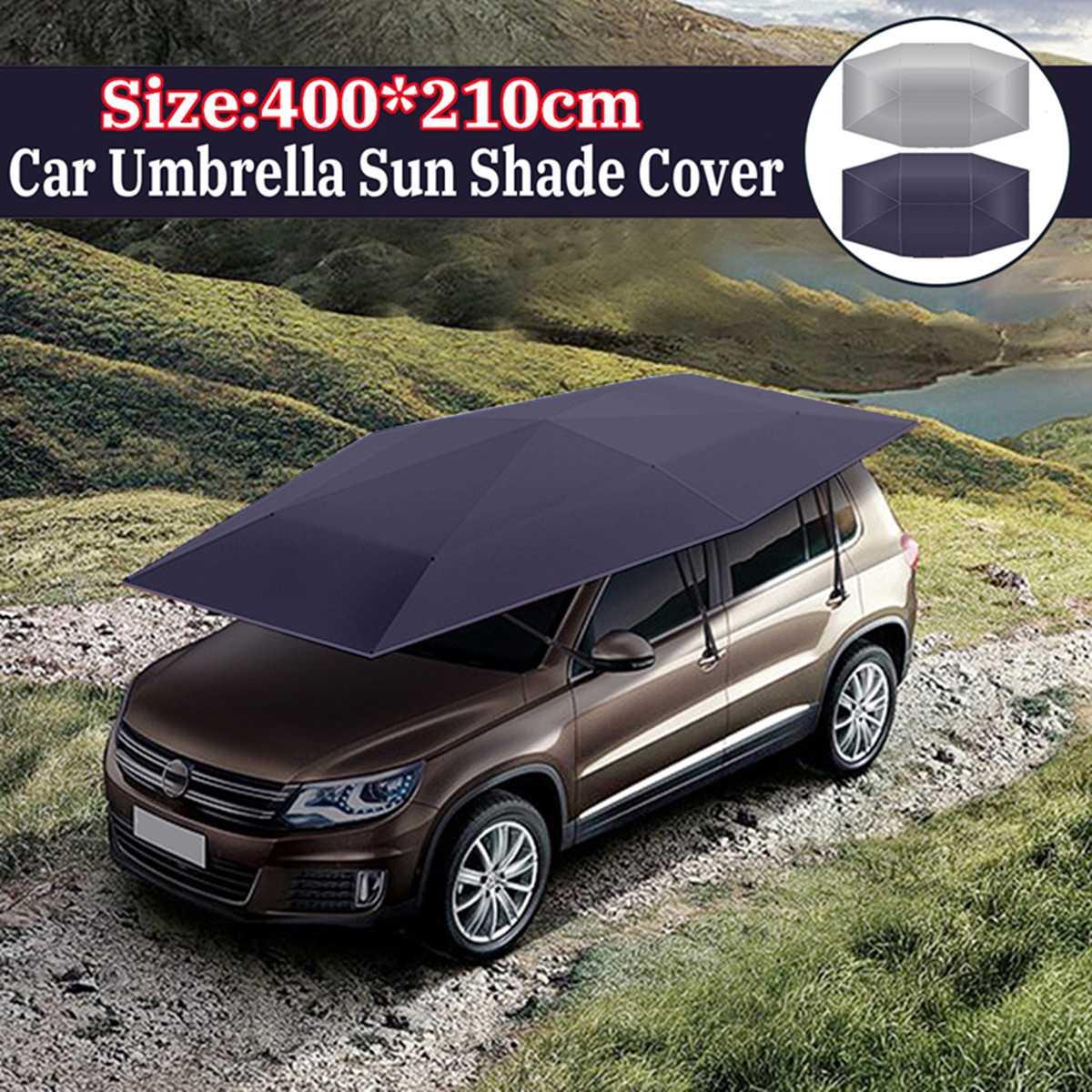 400x210 cm extérieur voiture véhicule tente voiture parapluie soleil ombre couverture Oxford tissu Polyester couvre bleu/argent sans support
