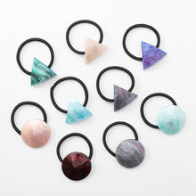Trendy Acrylic Geometric Round Triangle Hair Ring for Women Girls Horsetail Elastic Hair Rope Hair Bands Hair Accessories Gift(China)