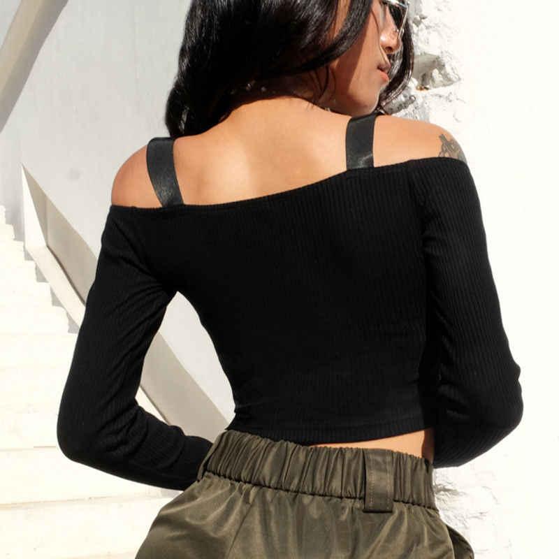 Las mujeres otoño Slim de manga larga hombro de Crop tops para mujer Sexy sólido cremallera suéter de talla grande