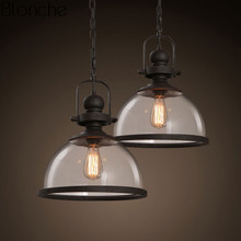 купить Vintage Iron Pendant Lights Loft Industrial retro Kitchen Hanging Lamp living room Home Lighting Fixtures Glass shade hanglamp по цене 5600.63 рублей