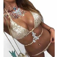 Conjunto de sujetador Sexy de 2 piezas de mujer de diamantes de imitación Squine acolchado push-Up Encaje Lencería conjunto verano Mujer ropa interior sujetador