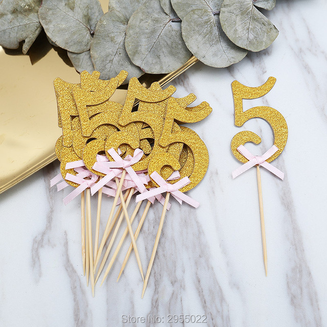 Glitter 5th Birthday Cake Toppers24 Set Ribbon Bow 5 Year Party Decor
