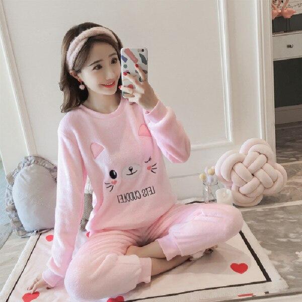 2018 Winter Women Pyjamas Thicken Flannel   Pajama     Sets   Warm Love Pijama Girl Nightgown Sleepwear Long Pant Christmas   Pajamas