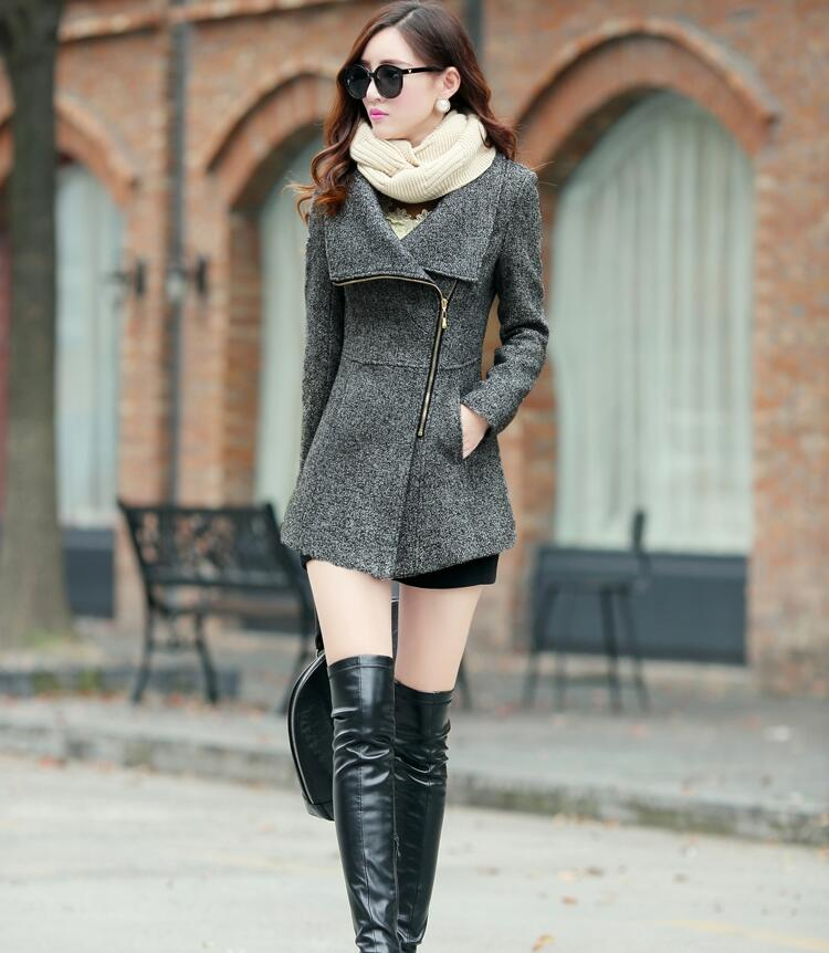Winter Women Temperament Stand-Collar Warm Woolen Jackets Coats Female Casual Clothing Fashion Women Slim Overcoat