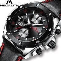 Relojes de moda MEGALITH con cronógrafo para hombre reloj de pulsera de cuarzo deportivo militar resistente al agua negro de cuero genuino reloj similar|Relojes deportivos| |  -