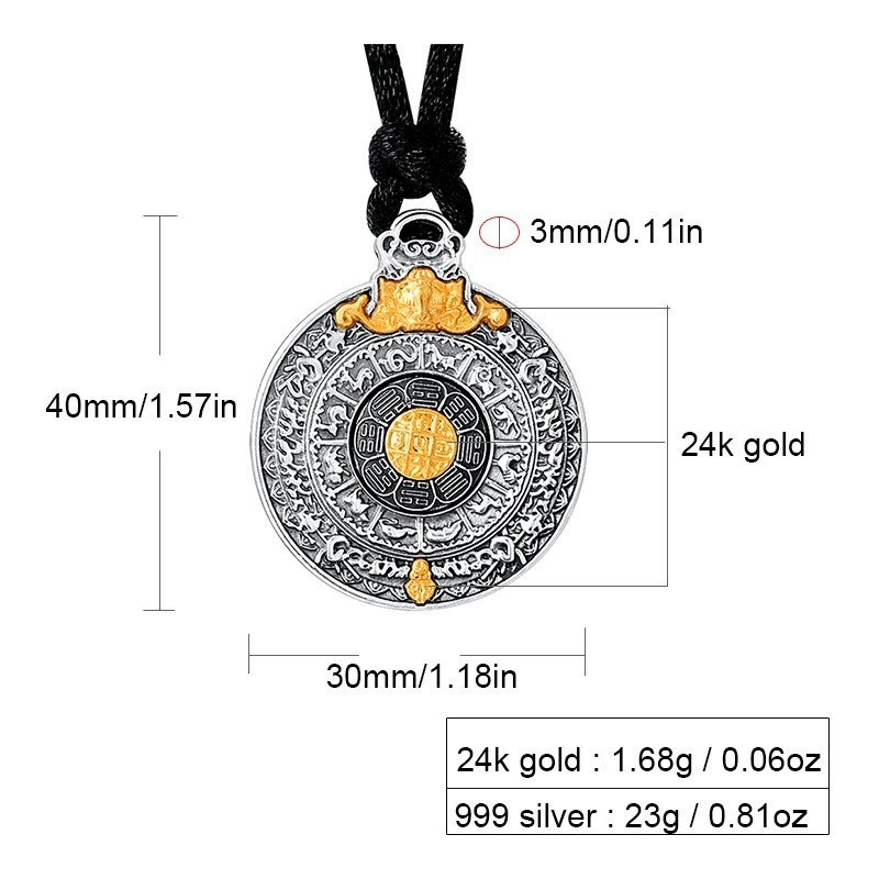 Image 2 - ZABRA Real 24k Gold And 999 Sterling Silver Buddhim Pendant Men Women Good Meaning Gift HipHop Man Vintatge Necklace Jewelry-in Pendants from Jewelry & Accessories