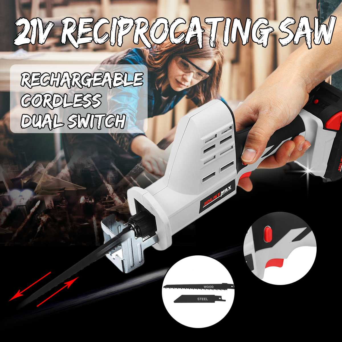 JOUST MAX 21V Cordless Reciprocating Saw Kit Portable Charging Electric Saw Blades Wood Metal Chain Saws Cut Tool with BatteryJOUST MAX 21V Cordless Reciprocating Saw Kit Portable Charging Electric Saw Blades Wood Metal Chain Saws Cut Tool with Battery