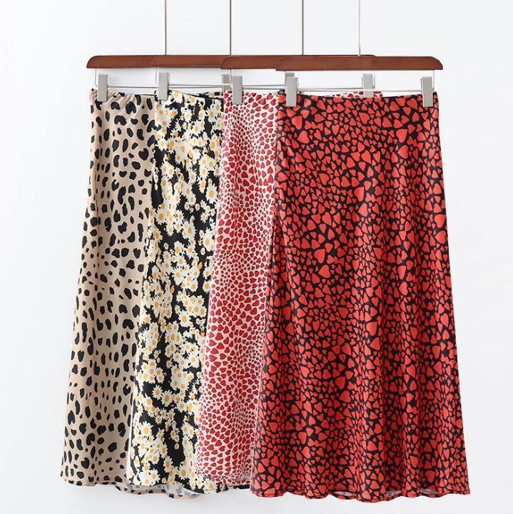 2019 Summer Satin Long Skirts Womens High Waist Skirt Leopard Daisy Printing Korean Sweet Bottoms