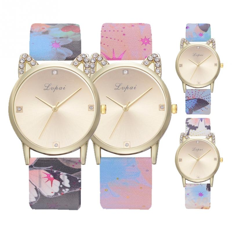 Watches Amicable New Women Watch Cute Kitty Pattern Rhinestone Fashion Quartz Watches Casual Cartoon Leather Clock Girls Kids Wristwatch Femme
