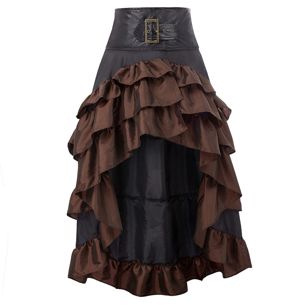 Lady Women's Skirts Party Club Wear Retro Vintage Steampunk Gothic Open Front Ruffled High-Low Punk Medieval Skirt Faldas Largas
