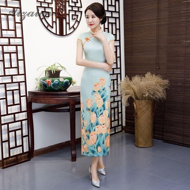 2019 China Classical Cheongsam Long Dresses Slim Printing Qi Pao Women Traditional Chinese Clothing Chinoise Similar Silk Qipao