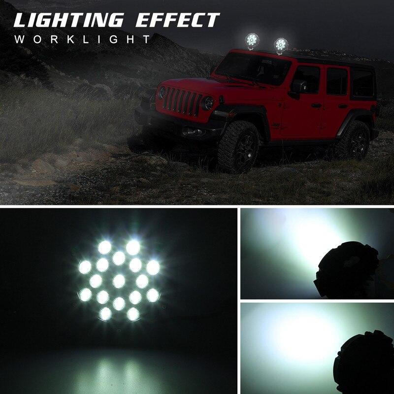Hiyork 7Inch 51W Round LED Work Light High Power Spotlight For 4x4 Offroad ATV UTV Truck