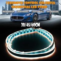Pair Car DRL Daytime Running Light Soft Tube Sequential LED Strips Cut table Remote Control Turn Signal Indicators Ultra thin
