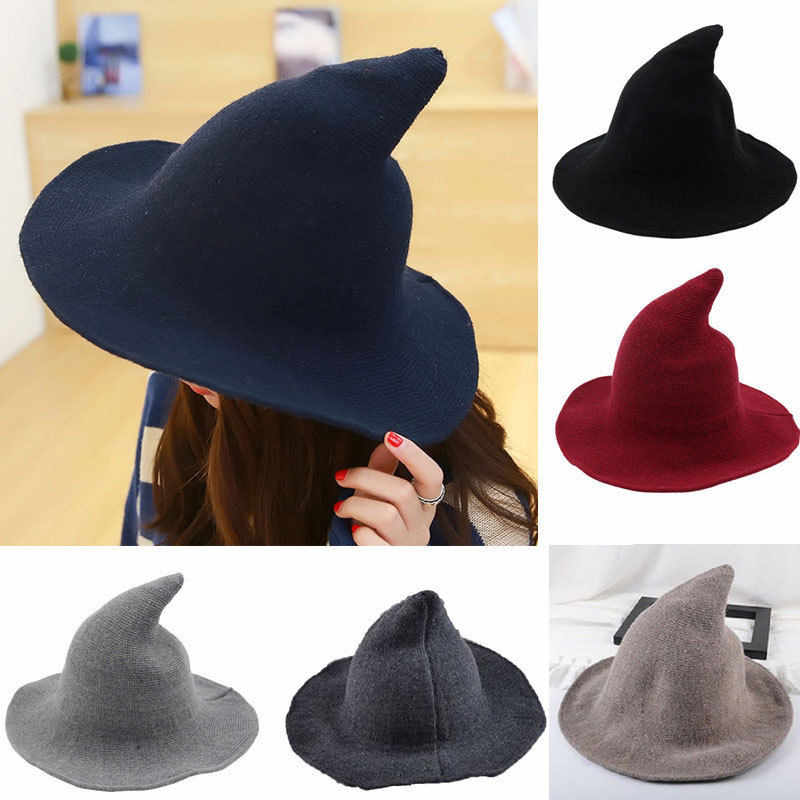 Stylish Women Modern Witch Hat Men Along the Sheep Wool CapS Knitted Fisherman Hats Female Pointed Basin Bucket Cosplay