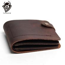 купить Handmade Vintage Crazy Horse Genuine Leather Wallets For Men Fashion Retro Style Men Clutch Bag Leather Men Wallet Male Purse по цене 715.79 рублей