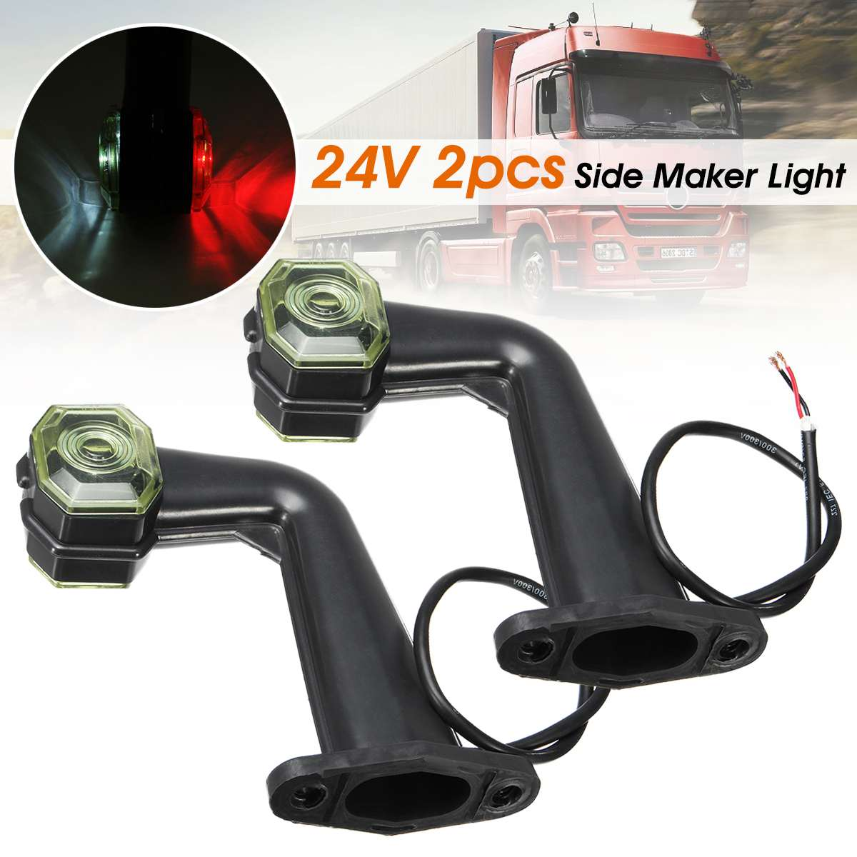 Pair 2 <font><b>LED</b></font> <font><b>24V</b></font> <font><b>Truck</b></font> Elbow Side Marker Light Indicator <font><b>Lamp</b></font> Side Marked <font><b>Lamp</b></font> For Car <font><b>Truck</b></font> Trailer Lorry image