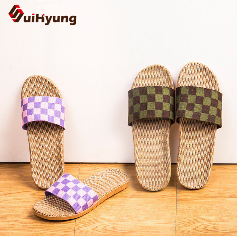 Suihyung Linen Slippers Girls Summer season Indoor Residence Ground Sneakers Breathable Flax Checkered Open Toe Slippers Anti-slip Zapatos Mujer Slippers, Low cost Slippers, Suihyung Linen Slippers Girls Summer season...