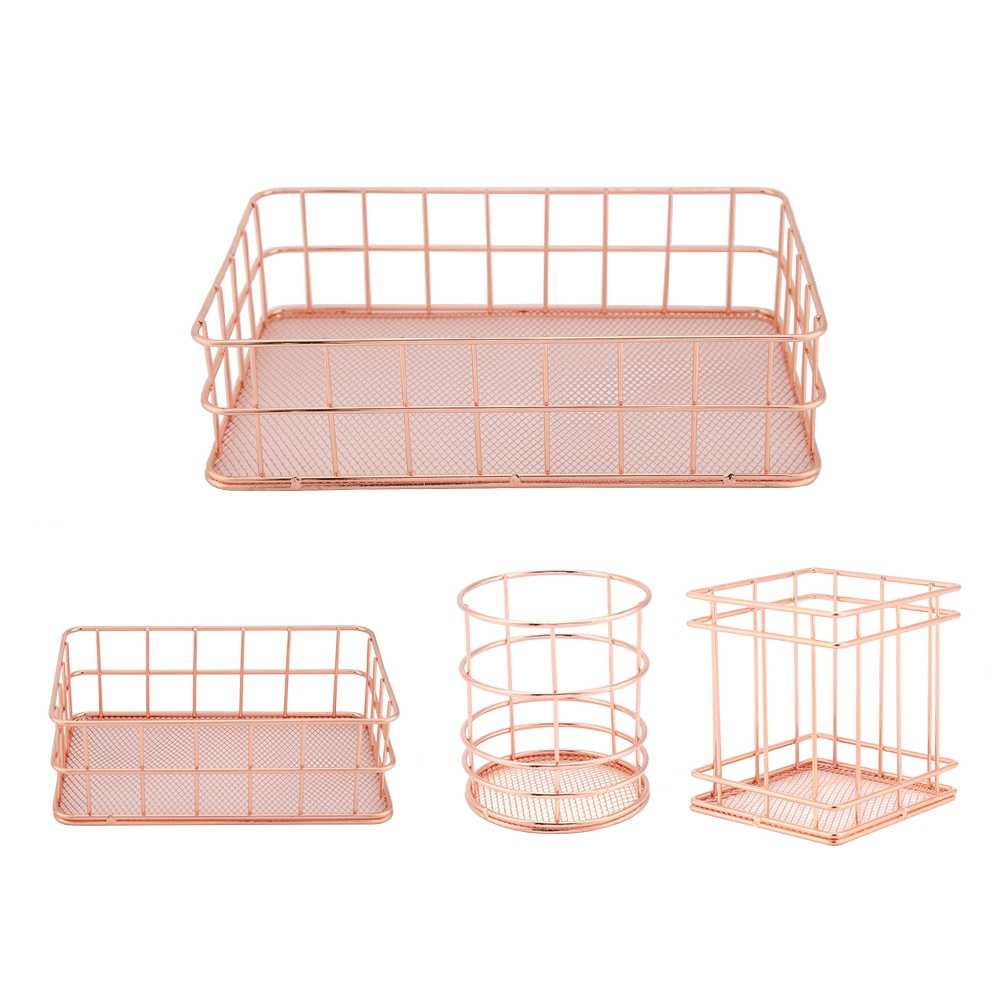 Mordern Rose Gold Iron Storage Basket Organizer Cosmetic Storage  Desktop Decor Home Office Toiletry Collection Shelf