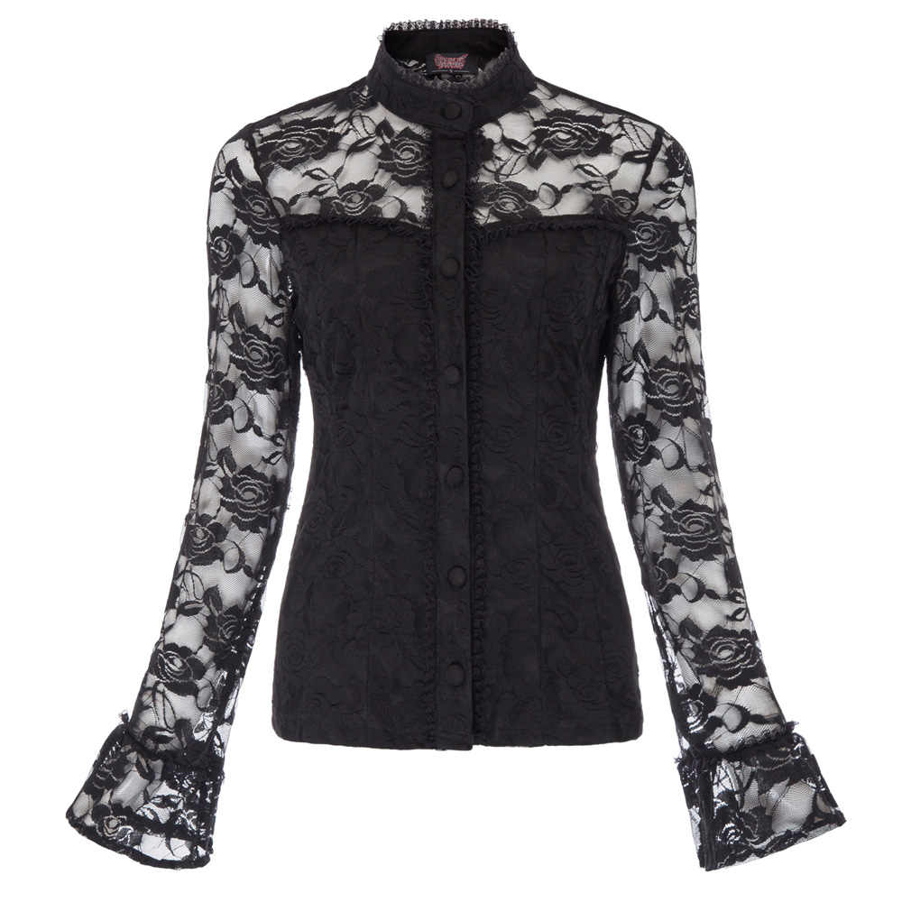6ba1006efa5 New Women Vintage Gothic shirt Autumn Spring Long flare Sleeve Stand Collar  buttons Lace Shirt solid