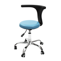 PU Dental Medical Dentist's Chair Seat Stool Adjustable Rolling Chair with Back Anti static Beauty Stool Salon Barber Chair