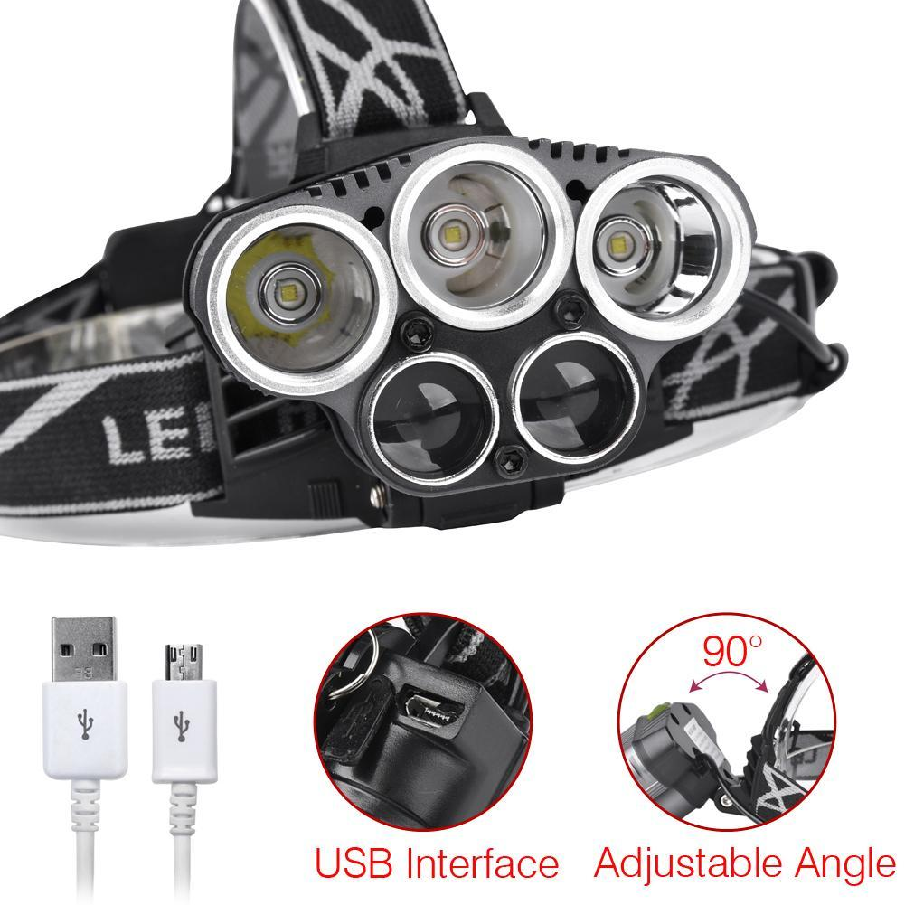 5 LED USB Headlight 40000 Lumens 5 Modes Lamp Super Bright Camping Hiking Waterproof Torch Light + USB Charging Cable