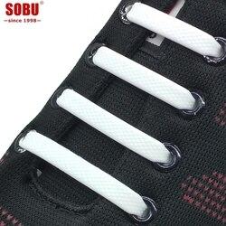 16 pçs/lote Acessórios Sapatos Laces Cadarços Elásticos de Silicone Cadarço Elástico Criativo Preguiçoso Silicone Sem Gravata Rendas Borracha V036