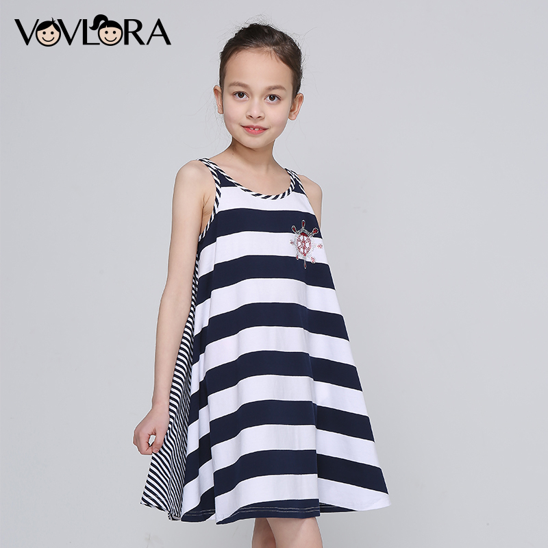 Striped Cotton Tank Girls Braces Dress O-neck Tops Loose Kids Beach Dress Summer 2018 Children Clothes Size 7 8 9 10 11 12 Years striped tied neck flowy dress page 8