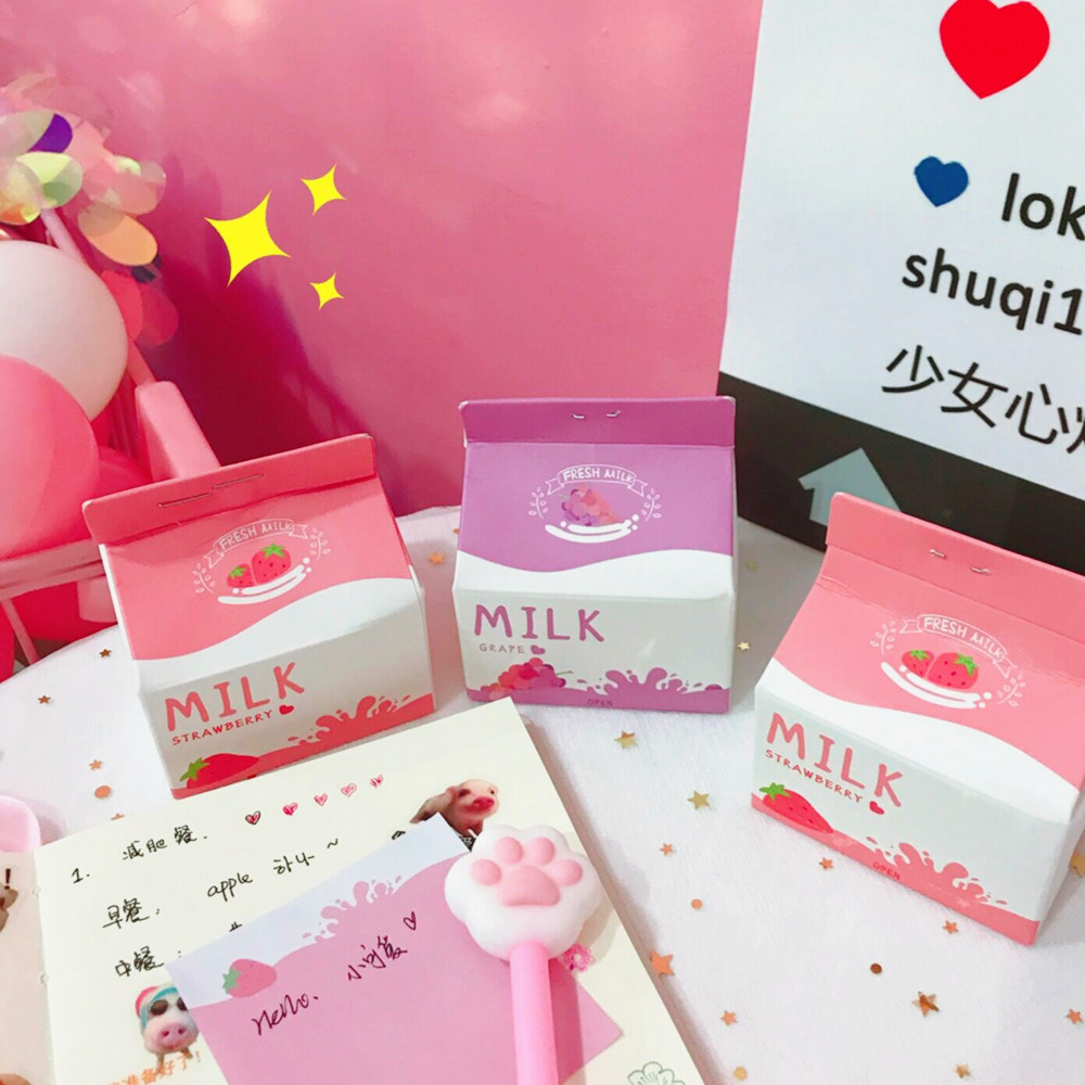 200sheets Strawberry Milk Case N Times Memo Pad Kawaii Note School Office Cute Stationery Supply