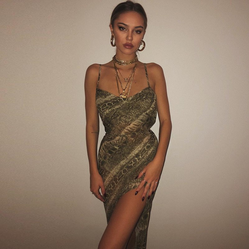 Snake Print High Split Sexy Maxi Dress Sexy Club Women Backless Beach Sundress Holiday Transparent Party Club Dress in Dresses from Women 39 s Clothing