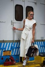 Casual Loose Sleeveless Woman Jumpsuit Romper 2018 Elegant O neck Solid Women Overalls Wide Leg White One Piece Women Outerwear