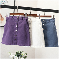 Women Fashion Denim Skirt Solid Cotton Pockets Above Knee Mini Length Front Single Breasted A Line Empire Waist Spring 2019