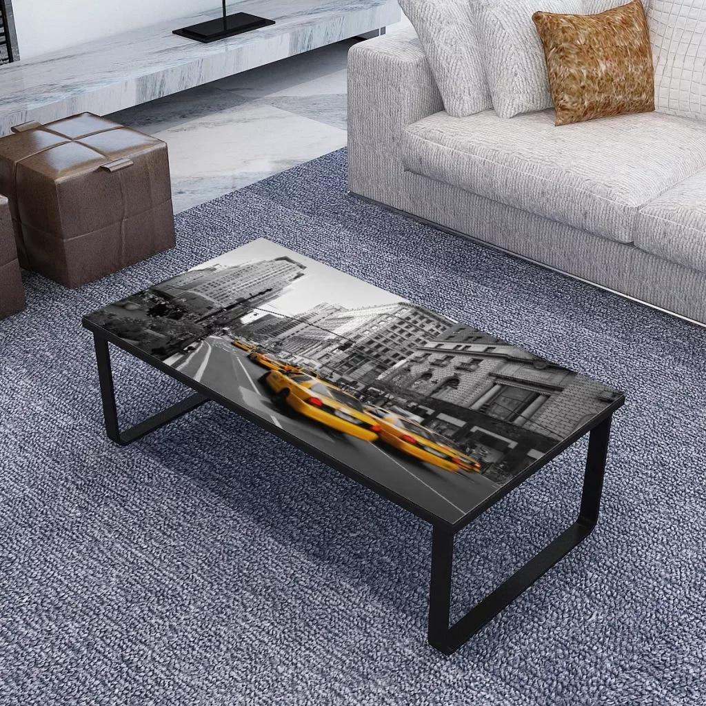 VidaXL Table basse rectangulaire avec plateau en verre Table de salon de haute qualité bureau d'impression de voiture de Style moderne facile à nettoyer