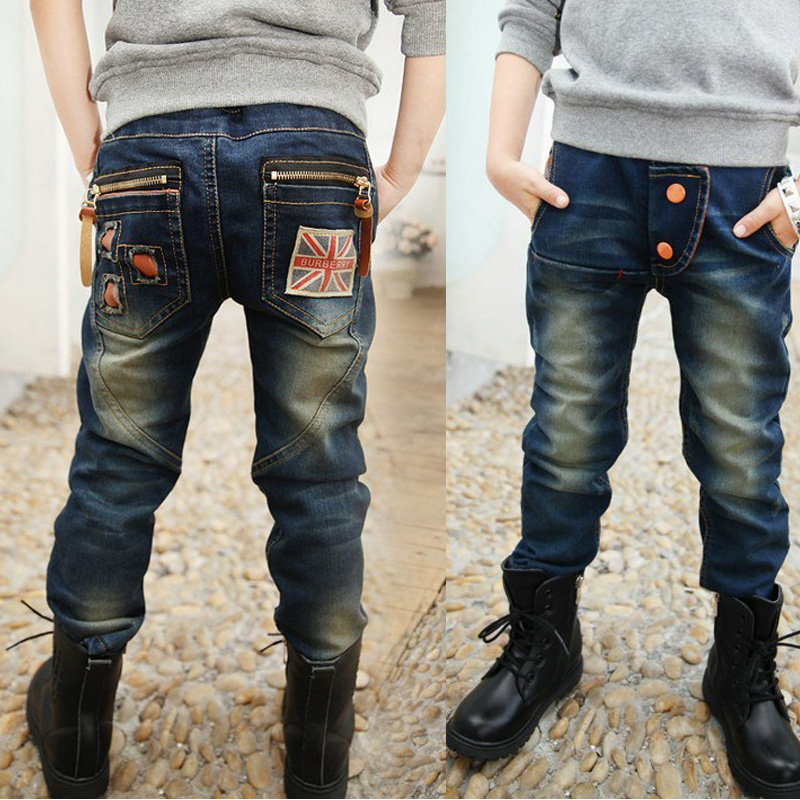 2019 New Fashion Spring Autumn Jeans For Boy Pants Kids Teenager Trousers Denim Warm Pants Children Korean Clothes(China)