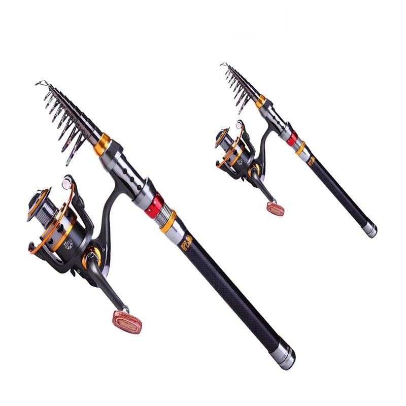 OLOEY 2.1 m-2.7 m canne à pêche télescopique moulinet Combo Kit complet canne à pêche engins + moulinet filature + ligne leurres crochets