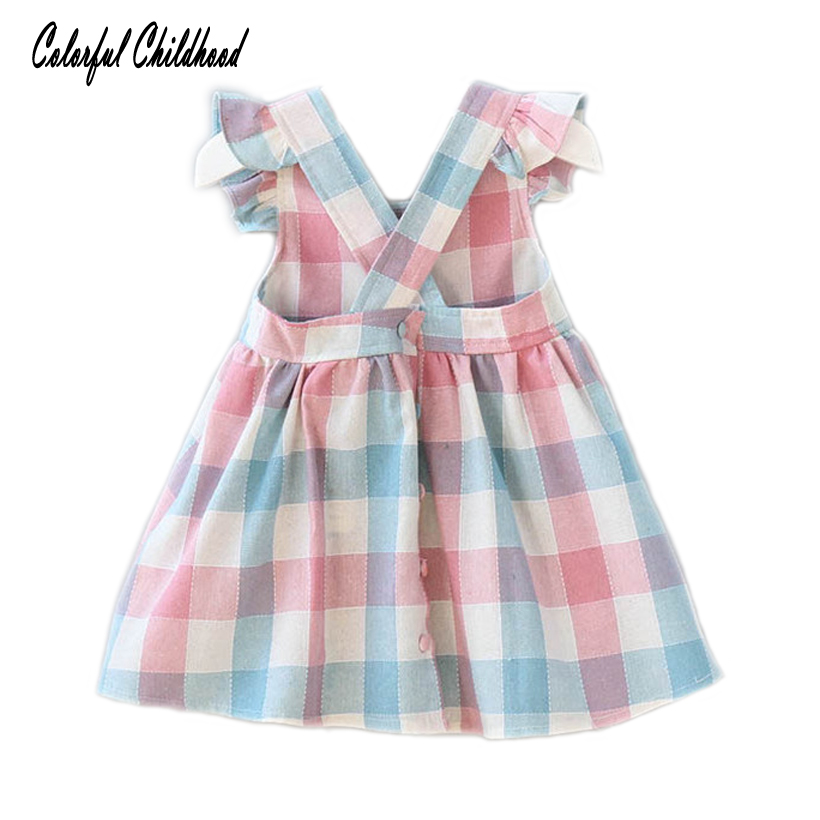 4b7dfef2e9 England style little girls dress summer plaid strap dresses for girls  clothing infant newborn bebe vestidos