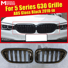 1 Pair G30 Grille M-Style ABS Gloss Black  5-series 520i 530i 540i 550i xD Front grills 2-slat 1:1 Replace 2018+