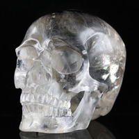4.29 QUARTZ ROCK CRYSTAL Handmade Carved Crystal Skull Crystal Realistic Crystal Healing Furnishing Articles Figurine A103