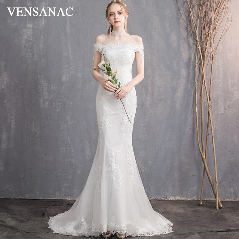 VENSANAC Elegant Boat Neck Lace Appliques Sweep Train Mermaid Wedding Dresses Off The Shoulder Backless Bridal Gowns