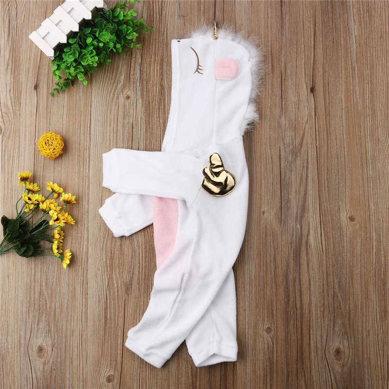 ad8acf97062 ... Newborn Baby Girl 3D Unicorn Flannel Romper Jumpsuit Toddler Kids  Hooded Rompers Winter Warm Overalls Outfit ...